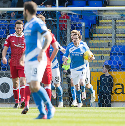 St Johnstone's Danny Swanson cowl scoring their penalty goal. St Johnstone 1 v 2 Aberdeen. SPFL Ladbrokes Premiership game played 15/4/2017 at St Johnstone's home ground, McDiarmid Park.