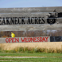 This is the sign to look for when visiting the farm. Breakneck Acre's logo features their favorite piece of farming equipment: an old John Deere tractor.