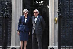 April 26, 2017 - London, London, United Kingdom - Image ©Licensed to i-Images Picture Agency. 26/04/2017. London, United Kingdom. Theresa May meets President Juncker. The British Prime Minister Theresa May meets Head of the European Commission, President Juncker at 10 Downing Street. Picture by Andrew Parsons / i-Images (Credit Image: © Andrew Parsons/i-Images via ZUMA Press)