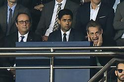 Former French President Francois Hollande, Nasser Al-Khelaifi and Former French President Nicolas Sarkozy attend the UEFA Champions League group B match Paris Saint-Germain (PSG) v FC Bayern Munich at the Parc des Princes stadium on September 27, 2017 in Paris, France. Photo by Laurent Zabulon/ABACARESS.COM