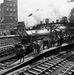 File photo dated 09/05/65 showing The Flying Scotsman locomotive leaves Paddington Station, London, at the head of a special train to commemorate the 20th anniversary of VE Day (Victory in Europe) Day, marking the end of the Second World War in Europe.
