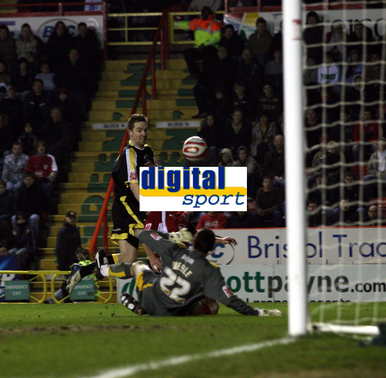 Photo: Mark Stephenson/Sportsbeat Images.<br /> Bristol City v Cardiff City. Coca Cola Championship. 15/12/2007.Bristol's  goal keeper Adriano Basso makes a good save as Cardiff pile on the pressure towards the end of the game