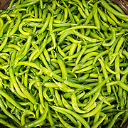 Detail of green chillies at market in Udaipur