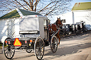 Amish horse buggies at a stable in Gordonville, PA.