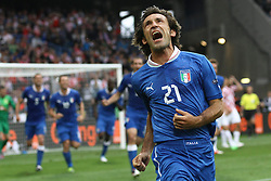 14-06-2012 VOETBAL: UEFA EURO 2012 DAY 7: POLEN OEKRAINE<br /> ANDREA PIRLO scores during the Euro 2012 football championships match Italy v Croatia at the stadium in Poznan. <br /> ***NETHERLANDS ONLY***<br /> ©2012-FotoHoogendoorn.nl