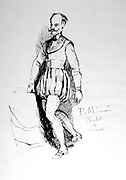 Figure in 16th century costume. Pen and ink sketch by Propsper Merimee (1803-1870) Frenh dramatist, historian and archaeologist.