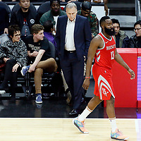28 February 2018: Houston Rockets guard James Harden (13) goes by Houston Rockets head coach Mike D'Antoni during the Houston Rockets 105-92 victory over the LA Clippers, at the Staples Center, Los Angeles, California, USA.