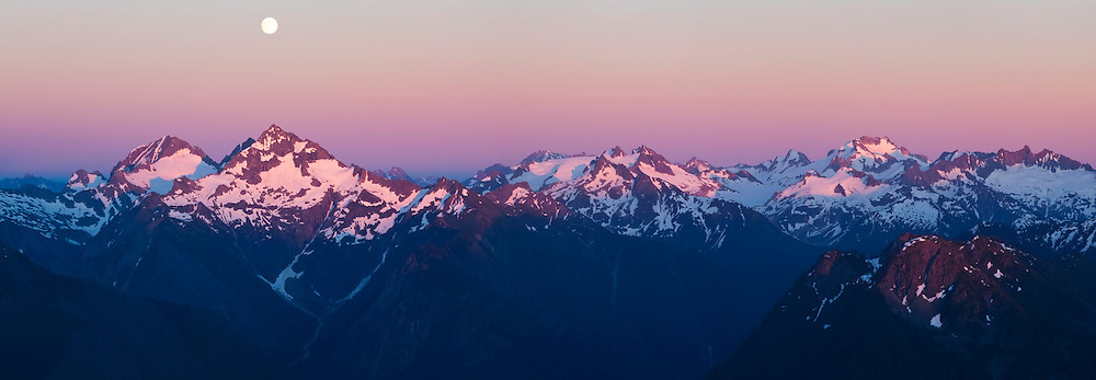 Moonrise over Spider Mountain and Mount Formidable from Hidden Lake Peaks, North Cascades National Park, Washington. Sentinel Peak, Dome Peak, and other mountains are also visible.