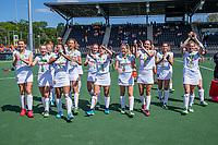AMSTELVEEN -  Vreugde bij Belgie en bedanken de supporters,  na de dames -wedstrijd voor de derde plaats ,  Belgie-Spanje (3-1) bij het  EK hockey , Eurohockey 2021. Belgie wint brons. COPYRIGHT KOEN SUYK