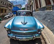 Chevrolet Chevy Old vintage car in Havana, the Republic of Cuba.
