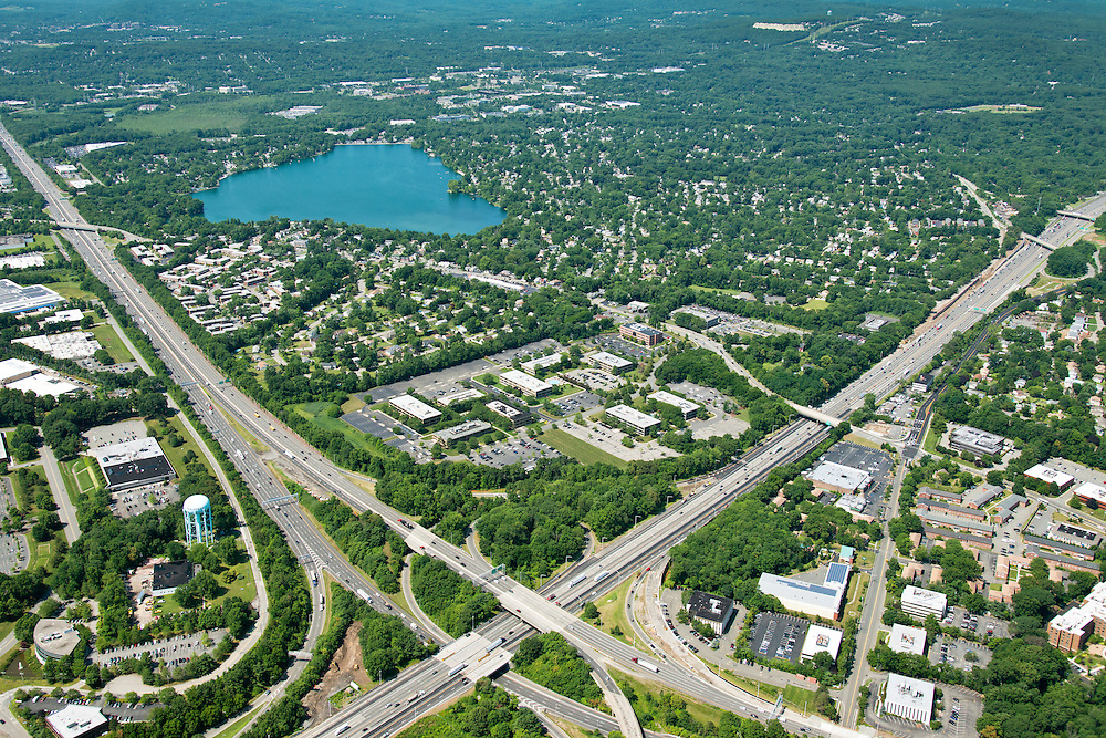 Aerial Photography of office campus in Parsippany NJ along Rt 80 & Rt 287