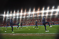 Everton players warming up before the match. Barclays Premier League match, Stoke city v Everton at the Britannia Stadium in Stoke on Trent , Staffs on Wed 4th March 2015.<br /> pic by Andrew Orchard, Andrew Orchard sports photography.