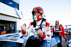 Dino Zamparelli celebrates after taking his first race win of the season | Bristol Sport Racing | #88 Porsche 911 GT3 Cup Car | Porsche Carrera Cup GB | Race 1 - Mandatory byline: Rogan Thomson/JMP - 07966 386802 - 27/09/2015 - MOTORSPORT - Silverstone Circuit - Towcester, England - BTCC Meeting Day 2.