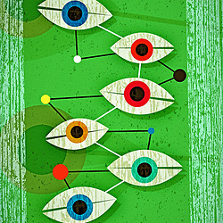 Geometric Fifties Surrealist Futuristic Eyes with Wood Textured Background
