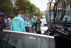 Laura Massey (GBR) of Drops Cycling Team prepares for the Tour de Yorkshire - a 122.5 km road race, between Tadcaster and Harrogate on April 29, 2017, in Yorkshire, United Kingdom.