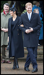 December 25, 2018 - Sandringham, United Kingdom - Image licensed to i-Images Picture Agency. 25/12/2018. Sandringham , United Kingdom. Prince Harry and Meghan Markle, The Duke and Duchess of Sussex , leaving the  Christmas Day church service at Sandringham in Norfolk, United Kingdom. (Credit Image: © Stephen Lock/i-Images via ZUMA Press)