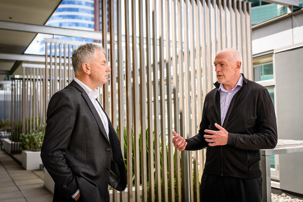 WELLINGTON, NEW ZEALAND - 8 DECEMBER: Mike Edington and Allan Ross on December 8, 2015 at the Department of Conservation in Wellington, NEW ZEALAND.  (Photo by Mark Tantrum Global Assignment by Getty Images for Profit Magazine).