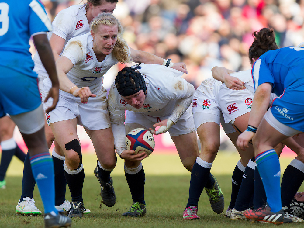 Rochelle Clark and Tamara Taylor in action, England Women v Italy Women in Women's 6 Nations Match at Twickenham Stoop, Twickenham, England, on 15th February 2015. Final score 39-7.