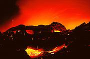 Lava flows into the sea from Kilauea Volcano.