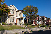 Victorian homes along Carroll Avenue in Angelino Heights. Los Angeles, California, USA