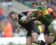 24/05/2002<br /> Sport - Rugby Union<br /> IRB World Sevens Series - Twickenham<br /> NZL V SA<br /> Eric Rush, scoring  a first half try.<br />    [Mandatory Credit, Peter Spurier/ Intersport Images]<br />    [Mandatory Credit, Peter Spurier/ Intersport Images]