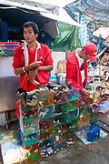 Wild animals on sale at a stall at the animal market in Bangkok, Thailand