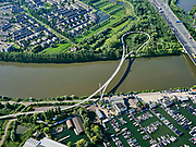 Nederland, Noord-Holland, Amsterdam, 02-09-2020; Nesciobrug over Amsterdam-Rijnkanaal. Jachtwerf Pampus en jachthavens, Diemen-Noord.<br /> luchtfoto (toeslag op standard tarieven);<br /> aerial photo (additional fee required);<br /> copyright foto/photo Siebe Swart
