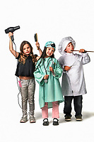 ***CHILD MODELS USED***..Kid models  left to right , Shawna Buckley as a hairdresser, Tamarra Woods as a surgeon and Jospeh Bagnato as a chef. There's a rush on Uni places - but which courses/fields should students or non-school leavers be choosing to maximise their job prospects?. Pic By Craig Sillitoe 16/10/2009 SPECIAL 000..Children, jobs, career, occupations, generic This photograph can be used for non commercial uses with attribution. Credit: Craig Sillitoe Photography / http://www.csillitoe.com<br /> <br /> It is protected under the Creative Commons Attribution-NonCommercial-ShareAlike 4.0 International License. To view a copy of this license, visit http://creativecommons.org/licenses/by-nc-sa/4.0/.