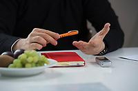 21 MAY 2012, BERLIN/GERMANY:<br /> Haende von Christophe F. Maire, Gruender / CEO txtr, Inhaber atlantic ventures, Investor und  Business Angel, waehrend einem Interview, txtr GmbH, Rosenthaler Str., Berlin-Mitte<br /> IMAGE: 20120521-02-019<br /> KEYWORDS: Christophe Maire, Hand, Hände