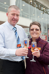 Lotto £100,714 winner Barbara outside the Sainsbury Store on Archer Road Sheffield with Store Manager Nevil Proctor   where she bought her winning Lotto ticket and where she works.30 November 2011  Image © Paul David Drabble