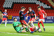 Charlton Athletic forward Recco Hackett-Fairchild's (37) shot on goal is blocked during the The FA Cup 2nd round match between Charlton Athletic and Doncaster Rovers at The Valley, London, England on 1 December 2018. Photo by Toyin Oshodi