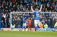 Chesterfield players  celebrate the own goal scored by Wycombe Wanderers Michael Harriman(16) during the EFL Sky Bet League 2 match between Chesterfield and Wycombe Wanderers at the b2net stadium, Chesterfield, England on 28 April 2018. Picture by Paul Thompson.