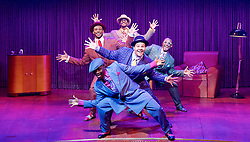Five Guys Named Moe by Clarke Peters <br /> at the Marble Arch Theatre (Temporary), London, Great Britain <br /> 12th September 2017 <br /> <br /> <br /> Dex Lee as Know Moe <br /> <br /> <br /> Horace Oliver as Big Moe <br /> <br /> Idriss Cargo as Little Moe<br /> <br /> Ian Carlyle as Four eyed Moe <br /> <br /> Emile Ruddock as Eat Moe  <br /> <br /> <br /> <br /> Photograph by Elliott Franks <br /> Image licensed to Elliott Franks Photography Services