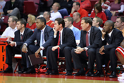 11 November 2007: Illinois State's new coaching staff, head coach Tim Jankovich is third from left.  Illinois State Redbirds defeated the Missouri - St. Louis Tritons 70-37 in an early season game on Doug Collins Court in Redbird Arena on the campus of Illinois State University in Normal Illinois.
