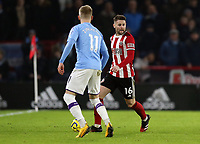 Sheffield United's Oliver Norwood under pressure from Manchester City's Kevin De Bruyne<br /> <br /> Photographer Rich Linley/CameraSport<br /> <br /> The Premier League - Sheffield United v Manchester City - Tuesday 21st January 2020 - Bramall Lane - Sheffield<br /> <br /> World Copyright © 2020 CameraSport. All rights reserved. 43 Linden Ave. Countesthorpe. Leicester. England. LE8 5PG - Tel: +44 (0) 116 277 4147 - admin@camerasport.com - www.camerasport.com