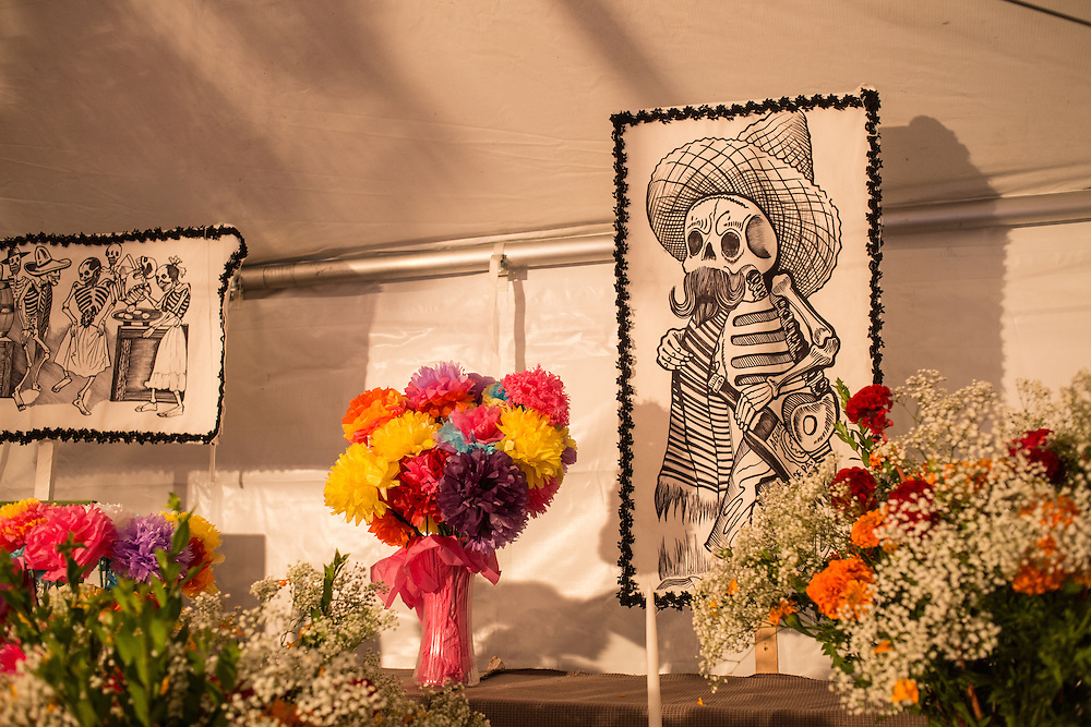 New York, NY, October 31, 2013. Illustrations by José Guadalupe Posada on the back wall of the tent.