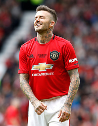 Manchester United Legends David Beckham reacts during the legends match at Old Trafford, Manchester.