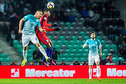 Jasmin Kurtic of Slovenia and Dele Alli of England during football match between National teams of Slovenia and England in Round #3 of FIFA World Cup Russia 2018 qualifications in Group F, on October 11, 2016 in SRC Stozice, Ljubljana, Slovenia. Photo by Grega Valancic / Sportida