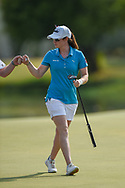 Leona Maguire (IRL) fist bumps her caddie her sinking her birdie putt on 18 during round 2 of the 2020 ANA Inspiration, Mission Hills C.C., Rancho Mirage, California, USA. 9/11/2020.<br /> Picture: Golffile | Ken Murray<br /> <br /> All photo usage must carry mandatory copyright credit (© Golffile | Ken Murray)