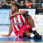 Olympiacos's Kyle Hines during their Euroleague Basketball Game 7 match Fenerbahce Ulker between Olympiacos at Sinan Erdem Arena in Istanbul, Turkey, Thursday, December 01, 2011. Photo by TURKPIX