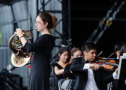 © Licensed to London News Pictures. 05/08/2012. London, UK.     Irvine Youth Orchestra perform live on-stage at BT London Live, Hyde Park. Photo credit : Richard Isaac/LNP