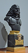 Bust of Michiel Adriaansz de Ruyter (1607-1676) by Josiah Wedgwood.  Black basalt earthenware on base of marble and gilt bronze, Staffordshire, c. 1780, the base probably the Netherlands, c. 1795-1810.  This portrait of Admiral De Ruyter was part of a series of busts of heroes from Dutch history produced by the English manufacturer Josiah Wedgwood, especially for the Dutch market.  The base was made especially for this bust; it was probably produced in the Netherlands.