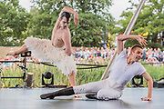 Matthew Bournes New Adventures perfom an excert of Swan Lake on the Waterfront Stage - The 2018 Latitude Festival, Henham Park. Suffolk 13 July 2018