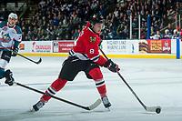 KELOWNA, CANADA - APRIL 8: Cody Glass #8 of the Portland Winterhawks handles the puck against the Kelowna Rockets on April 8, 2017 at Prospera Place in Kelowna, British Columbia, Canada.  (Photo by Marissa Baecker/Shoot the Breeze)  *** Local Caption ***