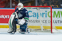 KELOWNA, BC - JANUARY 30: Roddy Ross #1 of the Seattle Thunderbirds kneels in net against the Kelowna Rockets at Prospera Place on January 30, 2019 in Kelowna, Canada. (Photo by Marissa Baecker/Getty Images)