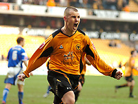 Photo: Ed Godden.<br />Wolverhampton Wanderers v Ipswich Town. Coca Cola Championship. 18/02/2006. <br />Wolves' Kenny Miller celebrates scoring the penalty.