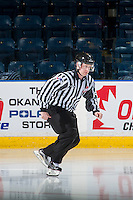 KELOWNA, CANADA - SEPTEMBER 28: Linesman Cody Wanner enters the ice during warm up on September 28, 2016 at Prospera Place in Kelowna, British Columbia, Canada.  (Photo by Marissa Baecker/Shoot the Breeze)  *** Local Caption *** Cody Wanner;