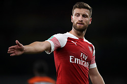 """Arsenal's Shkodran Mustafi during the Carabao Cup, Third Round match at the Emirates Stadium, London. PRESS ASSOCIATION Photo. Picture date: Wednesday September 26, 2018. See PA story SOCCER Arsenal. Photo credit should read: Nick Potts/PA Wire. RESTRICTIONS: EDITORIAL USE ONLY No use with unauthorised audio, video, data, fixture lists, club/league logos or """"live"""" services. Online in-match use limited to 120 images, no video emulation. No use in betting, games or single club/league/player publications."""