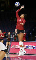 October 7, 2018 - Tucson, AZ, U.S. - TUCSON, AZ - OCTOBER 07: Washington State Cougars outside hitter Taylor Mims (10) serves the ball during a college volleyball game between the Arizona Wildcats and the Washington State Cougars on October 07, 2018, at McKale Center in Tucson, AZ. Washington State defeated Arizona 3-2. (Photo by Jacob Snow/Icon Sportswire) (Credit Image: © Jacob Snow/Icon SMI via ZUMA Press)