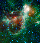 The Heart and Soul nebulae are seen in this infrared mosaic from NASA's WISE. Located in the constellation Cassiopeia, about 6,000 light-years from Earth, the Heart and Soul nebulae form a vast star-forming complex that makes up part of the Perseus spiral arm of our Milky Way galaxy. The nebula to the right is the Heart, and to the left is the Soul nebula.